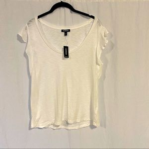 Express White Flutter Sleeve Top NWT M